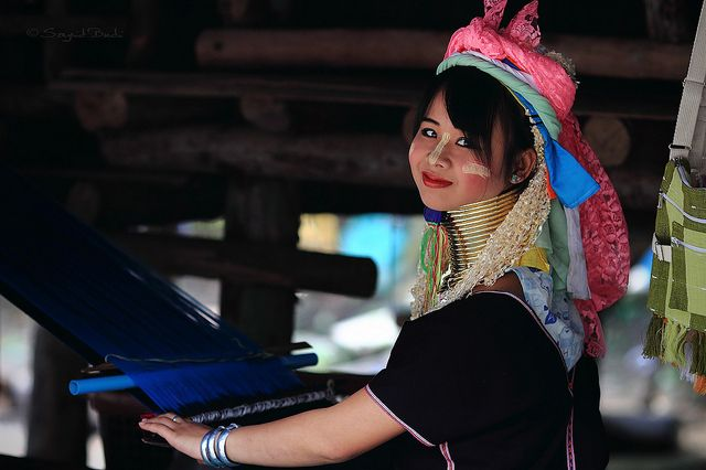 A Kayan Lahwi (also called Padong/Padaung) girl.  She belongs to a subgroup of the Karen people of Burma/Thailand.  In the Karen language Padong means one who wears brass neck rings.
