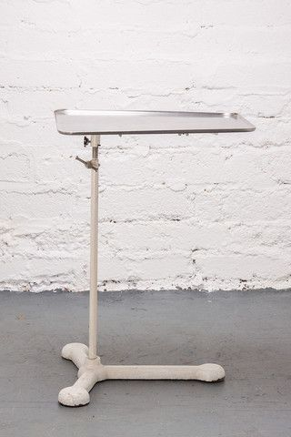 Heavy metal height adjustable and swivel medical tray. c.1950's.  If you like this check out our shop http://industrialthings.com/