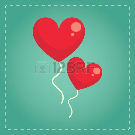 heart shaped helium balloons Stock Vector