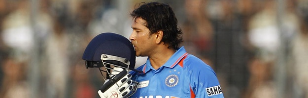 Sachin Tendulkar of India achieves what no man has achieved. First man in history to score 100 Centuries in International Cricket.  Chakde India !!