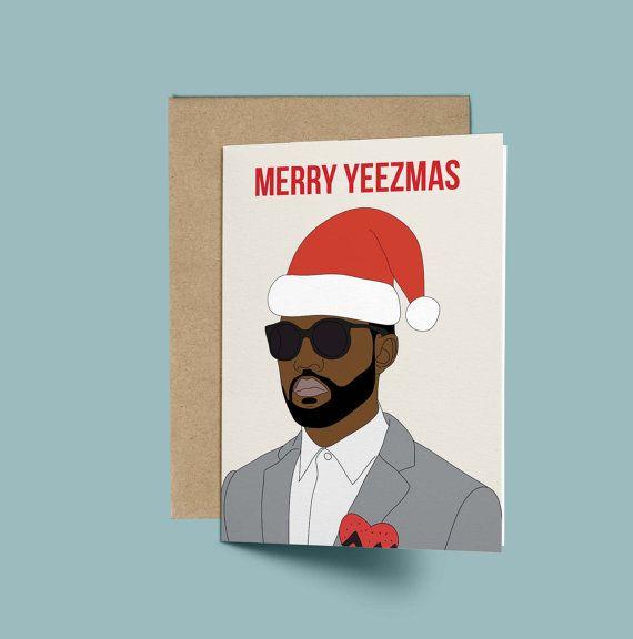 Kanye West Merry Yeezmas Funny Christmas Card by GREETYOSELF