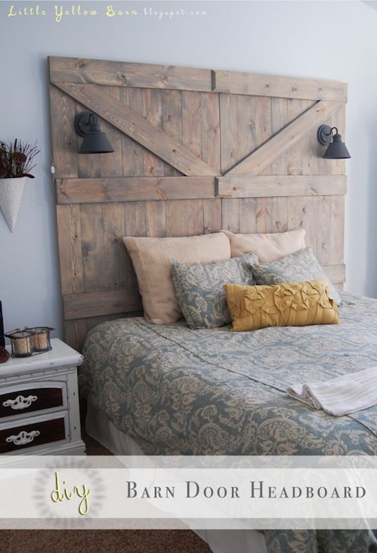 DIY Barn Door Headboard! Less than 200-hundred dollars to make! I want one! :-)  LittleYellowBarn blog.
