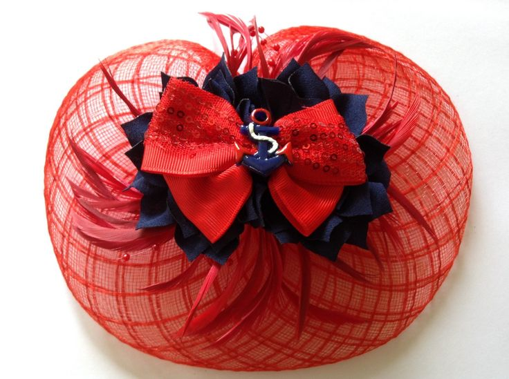 Navy & Red Sparkle Nautical Fascinator by MsDevastated on Etsy https://www.etsy.com/au/listing/276691156/navy-red-sparkle-nautical-fascinator