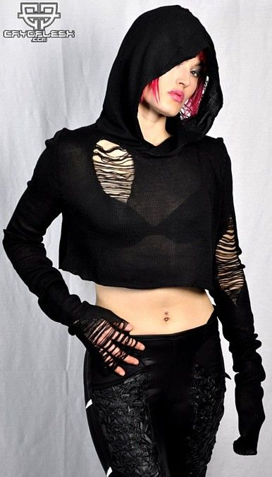 Black Widow Hoodie Female  SWEATER KNIT CROPPED HOODED PULLOVER WITH EXTRA LONG SLEEVES!