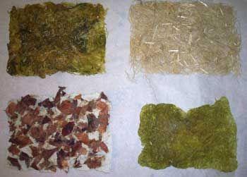 Cora de Kok: geschept papier met natuurlijke materialen (hennep, uienschillen) Handgeschöpftes Papier mit Hanf und Zwiebelschalen