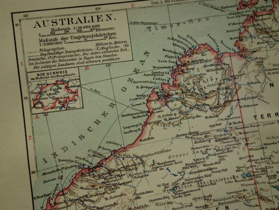 AUSTRALIA old map 1913 very detailed antique map by VintageOldMaps