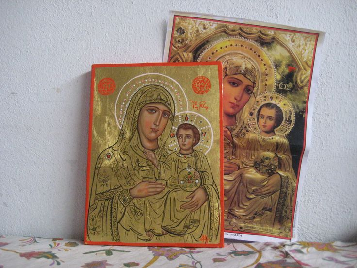 The Most Holy Mothert of Jerusalem- Eggtempera on pkywood 22K gold icon by angelicon
