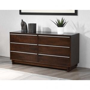 Metal Rubberwood Wood 6-Drawer Dresser