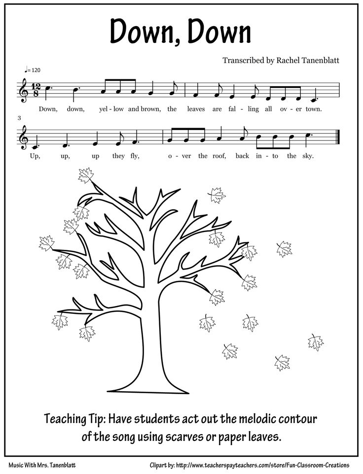 Kindergarten - Fall leaves song, can color in paper leaves then use to show contour in song (LOVE!!) Or scarves if we had them
