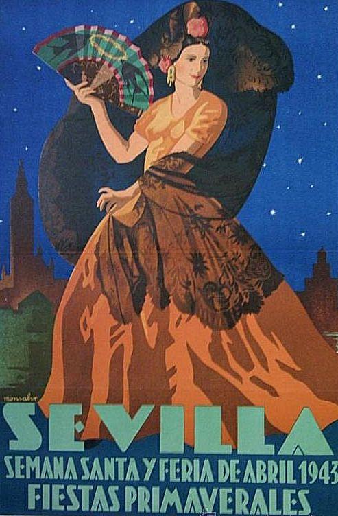 Sevilla. Semana Santa y Feria de Abril, 1943, España.