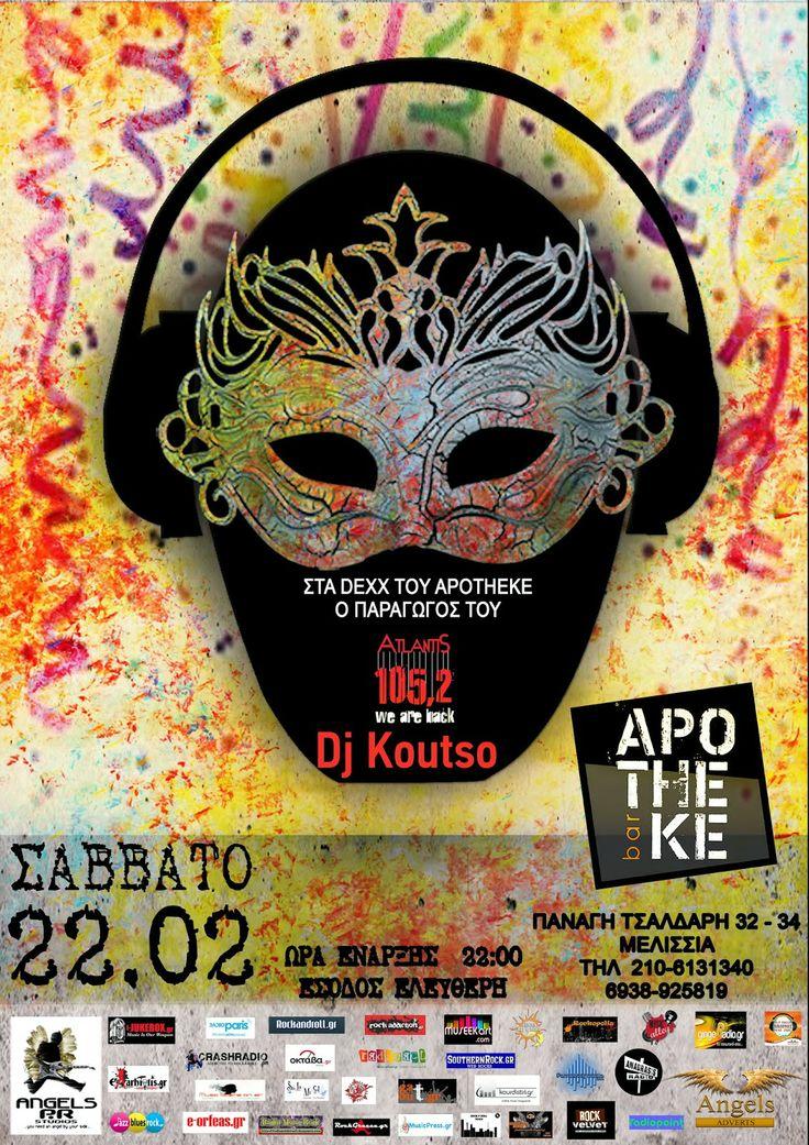 Rockopolis GR: DJ KOUTSO on Decks @ Apotheke Bar στις 22 Φεβρουαρ...