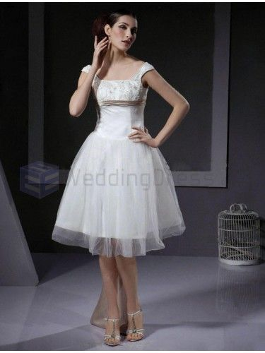 A-line Square Sleeveless Satin Tulle Knee-length Wedding Dress with Flowers