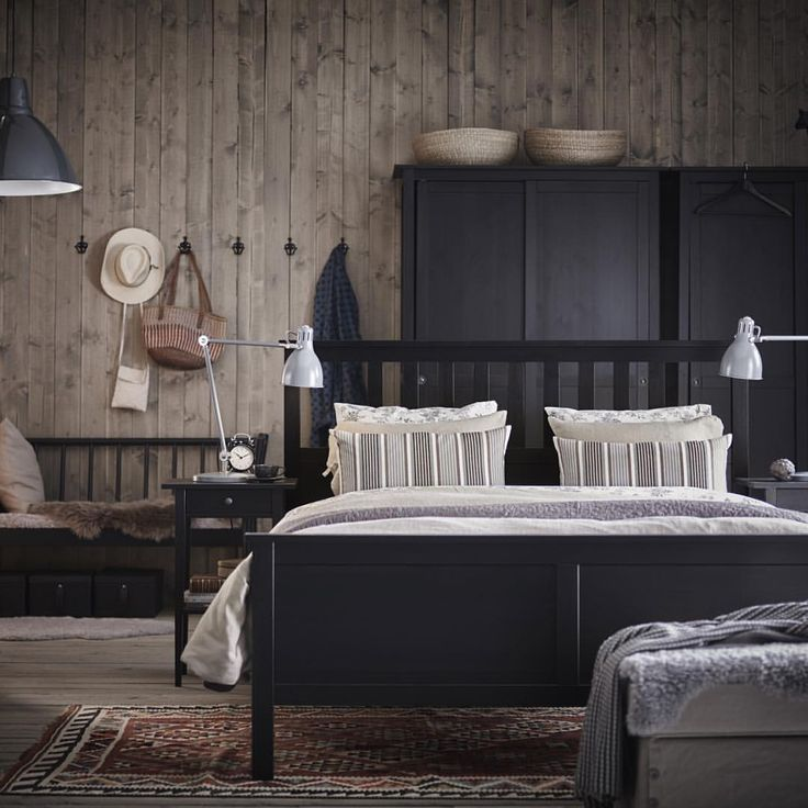 I like the bed in the middle of the room.   Dream of warmer weather under a pile of cozy blankets and a comfy HEMNES bed.