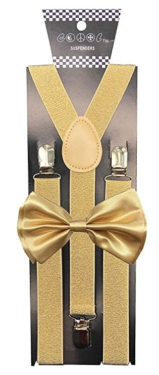 0cfde170edf5 CD Gold Suspender with Matching Metalic, Champagne, Sequined Bowtie Set (Champagne  Gold)