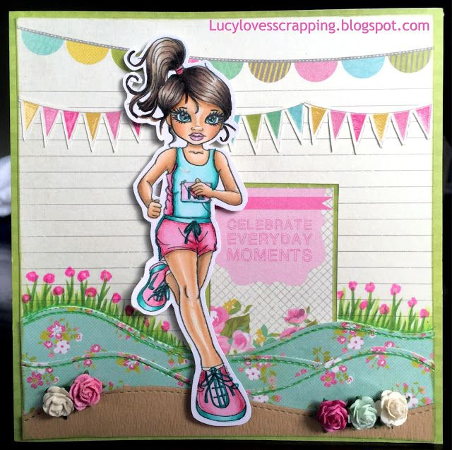 Lucy loves scrapping: Cute as a Button running girl digital stamp, hand colored with Copic markers, handmade cute girly scene card