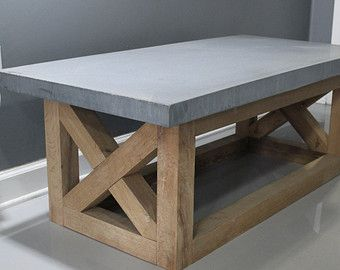 Coffee Table Concrete Table Reclaimed Urban Wood Rustic Modern Coffee Table. $975. etsy.com