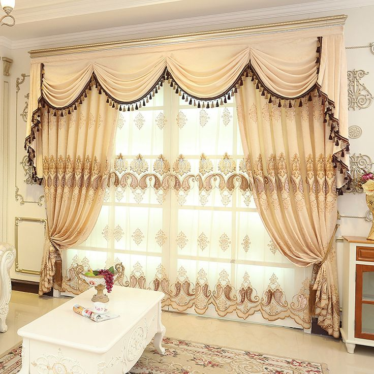 Baltic Embroidered Brown Beige Color Floral Waterfall And Swag Valance And  Sheers And Chenille Velvet Curtains