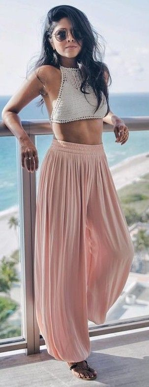 #summer #trends #outfits |  White Crochet Top + Pink Pleated Palazzos