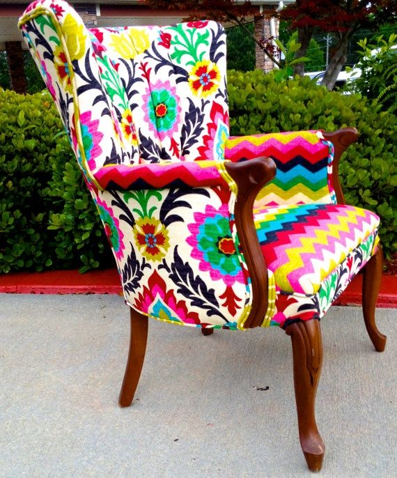 Colorful Chair By EmileyMichelle On Etsy This Would Be A Fun Piece To Base  A Color Pallet Off Of!
