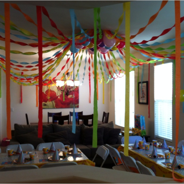 Here's a circus tent we made using streamers for my son's 6th birthday that was a circus theme. First we found the center of the room and taped streamers from the center circle using a ladder. My husband did that while I took a chair around the room for the outer sides. We then filled the center in with balloons. It takes a while so we did it days ahead of time.