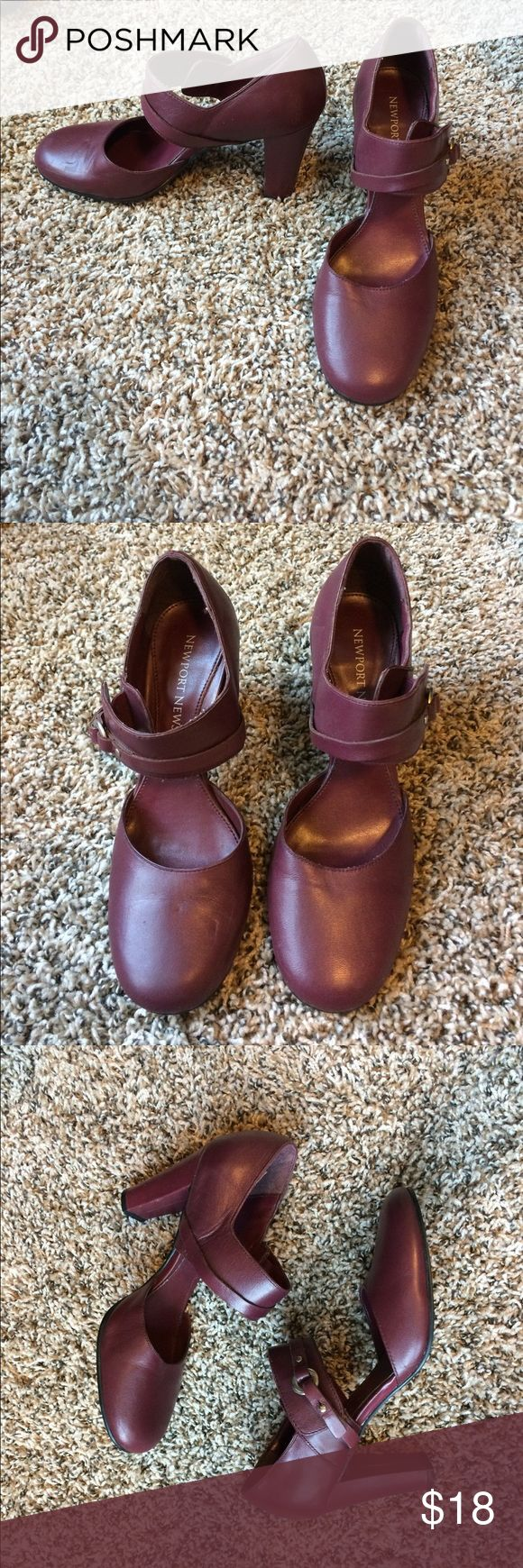 Newport News Maroon Strapy Heels Maroon Newport News heels, size 6, in good condition, straps on the outside of shoe have elastic fit, very unique Newport News Shoes Heels