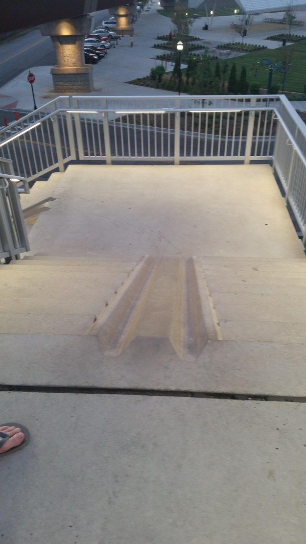 These stairs that have a slot to make it easier to bring your bike down. | 27 Actually Good Ideas