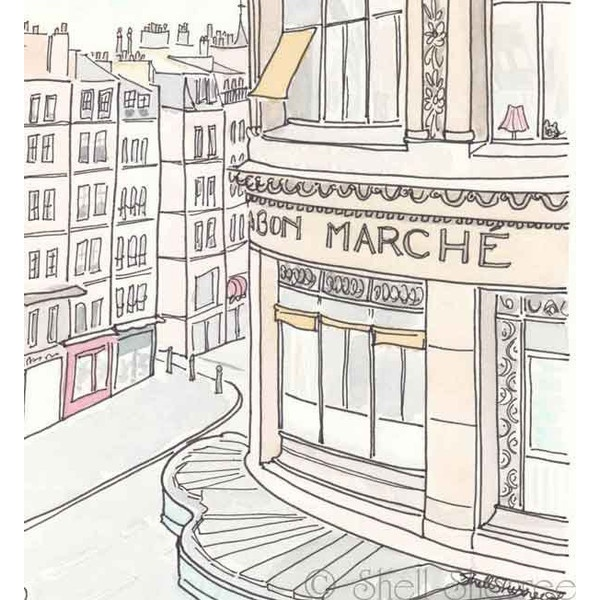 Paris Le Bon Marche Department Store - giclee print of ink and... ❤ liked on Polyvore