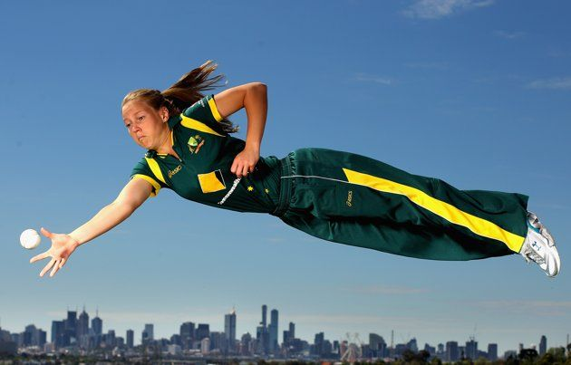 MELBOURNE, AUSTRALIA - OCTOBER 27: Victorian and Australian women's cricket team representative Meg Lanning dives for a catch during a photo shoot at Quarry Park on October 27, 2011 in Melbourne