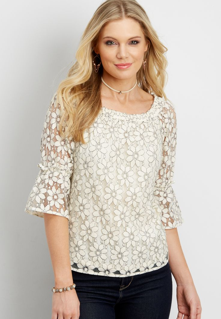 two tone floral lace off the shoulder top (original price, $34.00) available at #Maurices