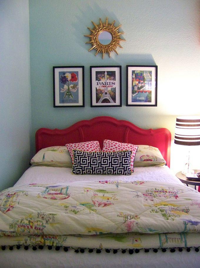 Bright headboard, vintage prints, sunburst mirror: Kid Spaces, Color, Kids Spaces, Aqua Wall, Big Girls Rooms, Bedrooms Ideas, Big Girls Bedrooms, Kids Rooms, Girl Rooms