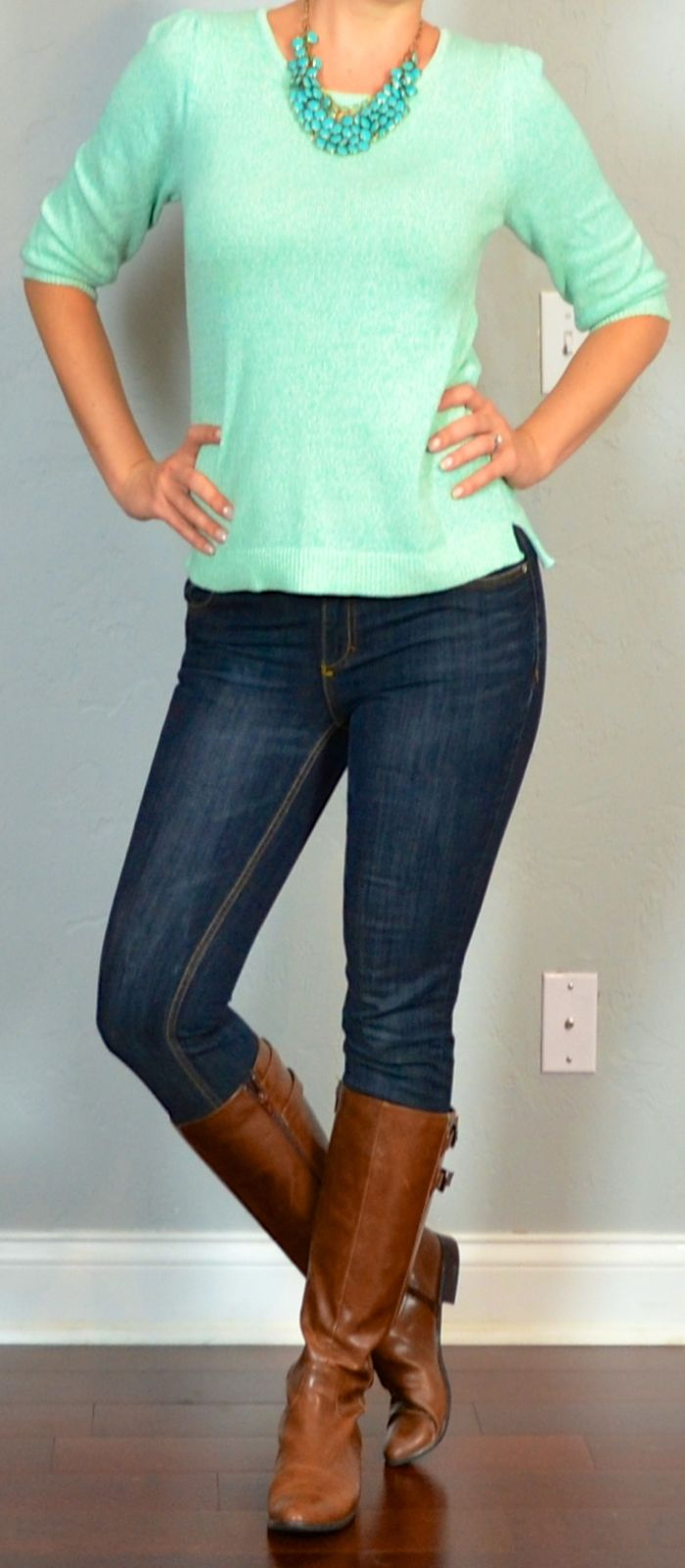 Outfit Posts: outfit post: mint sweater, skinny jeans, boots