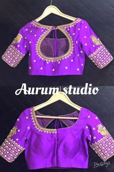 Fascinating blouse works for silk sarees.  Beautiful maggam , cut work and jumki work blouses in latest styles with beautiful finishing from Aurum Studio  Blouses can be customized as per your color choices.