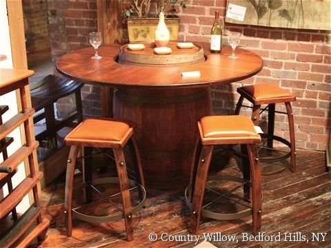 Country Willow Furniture Round Bar Height Table Barrell