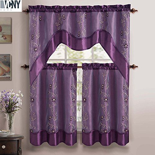 "Daphne Embroidered Kitchen Curtain Set By Victoria Classics - Assorted Colors (Purple) 3 pieces one valance 57""in x 36""in(145cm X 91cm) two tiers 28""in X 36""in (71cm X 91cm)"
