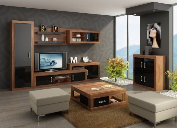 Obývacia izba - WIP - Verin 3 M4 Elegantný nábytok do obývačky v príjemnom spojení dreva a čierneho lesku.