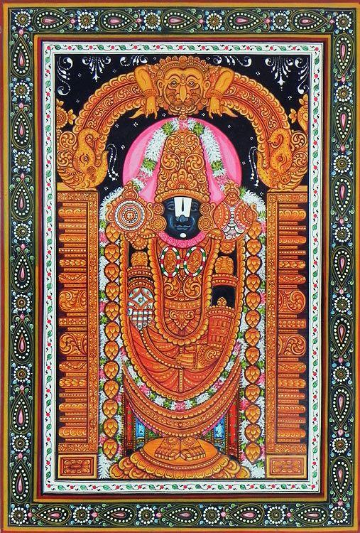 Lord Venkateshwara (Orissa Paata Painting on Canvas - Unframed)