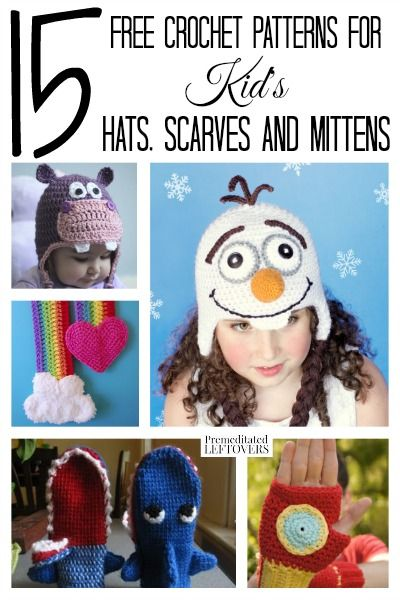 Time to bundle up! Why not make your kids some winter-wear they will love? Here are 15 free crochet patterns for kids hats, scarves & Mittens.