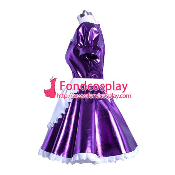 Free Shipping Sissy maid dress lockable purpel PVC French Uniform cosplay costume Custom-made