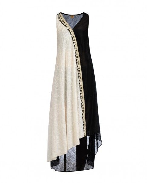 Black and White Dress with Chikankari Embroidery