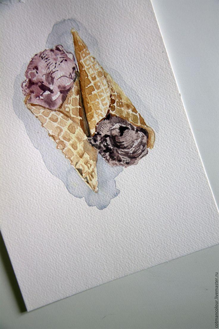 Купить Мороженое - бледно-розовый, шоколад, мороженое, вафли, акварель, акварельная бумага, акварельные краски