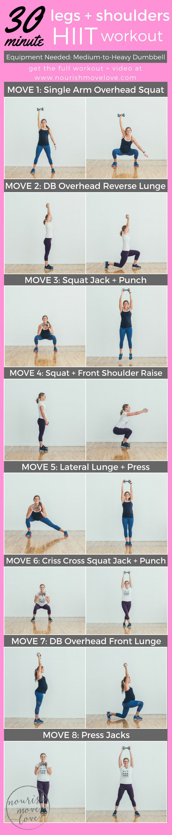 30 minute (HIIT) high intensity interval training workout targeting the legs and shoulders but still a total body burn! Challenge your shoulders, core, glutes, and legs with this 8 exercise workout challenge. Squat, lunch, punch, shoulder raise, and press.