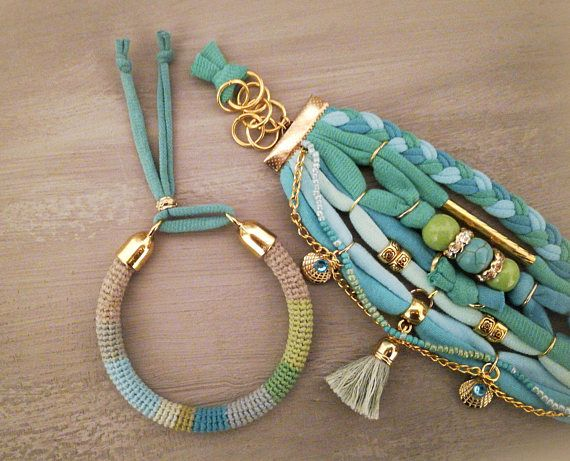 Bohemian bracelet, gypsy bracelet set in turquoise and seafoam colors made with two stacked bracelets. The one is crochet tube bangle made using natural linen yarn and color cotton threads. The second multistrand bracelet is made with t-shirt yarn, turquoise and porcelain beads,