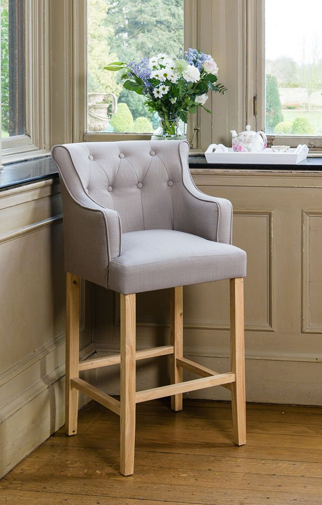 Grey Upholstered Button Breakfast Bar Stool Wooden Oak Legs