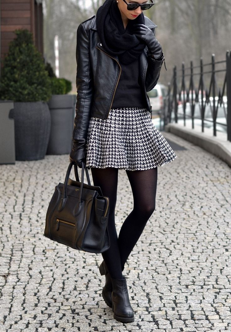 Black leather jacket handbag boots scarf, skirt. Street