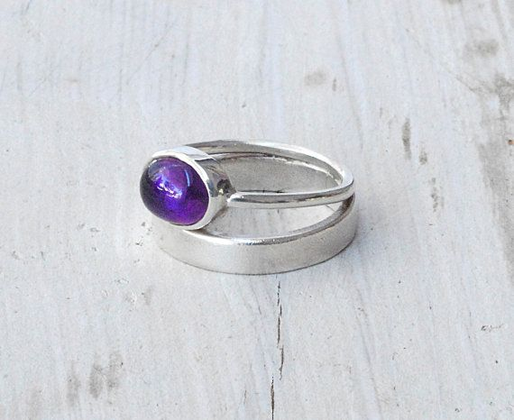 Sterling Silver Double Band Ring with Purple Amethyst, Split Wide Band Ring, Stacking Ring, Purple Jewelry, Minimalist Ring, Statement Ring