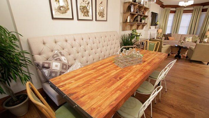 Property Brothers | W Network  - Love this booth idea for the dining room!!!