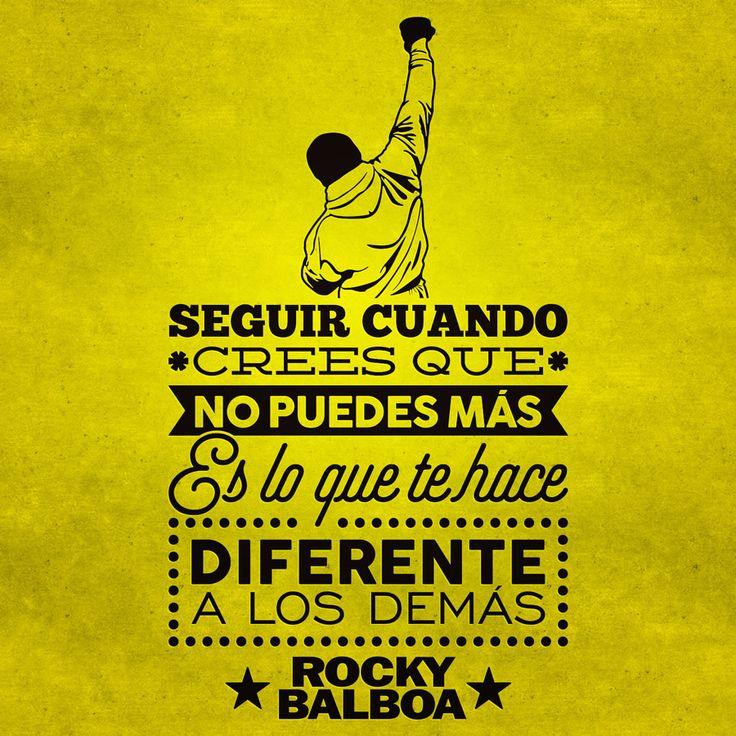 """Vinilo decorativo tipográfico de la frase célebre motivadora de Rocky Balboa """"Seguir cuando no puedes más es lo que te hace diferente a los demás"""" #teleadhesivo #decoracion #inspiracion #frasescelebres #rocky"""
