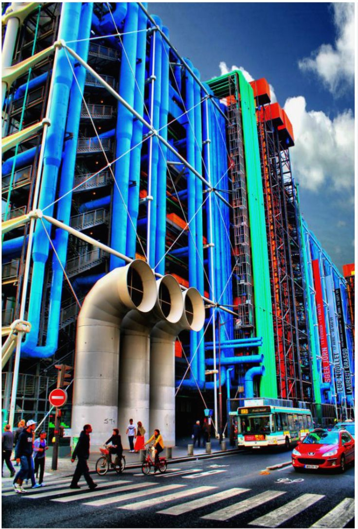 In 1970 in paris, the president Georg Pompidou announced a contest to build Contemporary Center of Art. 681 competitors from 49 different countries presented projects. A project involving three associated architects was selected by the international jury, two Italians, Renzo Piano and Gianfranco Franchini, and an Englishman, Richard Rogers, all virtually unknown at the time. To save the interior, all the technical equipment centrifuged on the opposite side.