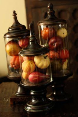 DIY apothecary jars..cute w/ mini pumpkins, easter eggs or pine cones