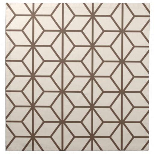 Brown et motif géométrique beige d'art déco serviette en tissu
